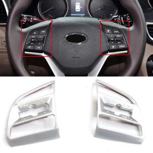 For Hyundai Tucson 2016-2019 ABS Matte Car Steering Wheel Button Cover Trim 2pcs