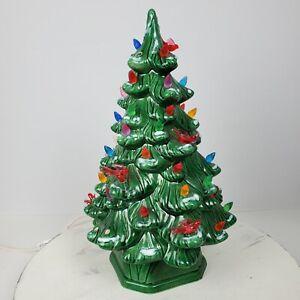 Vintage Ceramic Light & Bird Ornaments Tree 11.5x6 Inch Green Colorful
