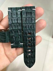 GREEN HORNBACK GENUINE ALLIGATOR CROCODILE LEATHER SKIN WATCH BAND STRAP 24mm