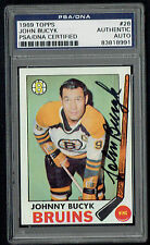 Johnny Bucyk #26 signed autograph auto 1969 Topps Hockey Card PSA Slabbed