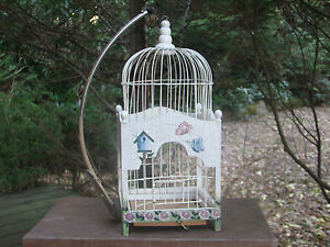 Vintage Antique Victorian Dome Wood Wire Bird Cage Folk Art Floral Hand Painted