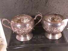 Sterling Stieff 2pc Hand Chased Rose Open Sugar And Creamer
