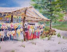 """Straw Hats"", Col Williamsburg, VA, Famous Place, Watercolor Print, Artist"