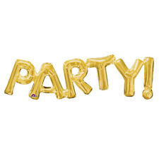 Party! Script Gold Foil Balloon Self Sealing - Air Filled only 83cm x 22cm