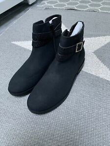 Lands End Girls Black Bootie Ankle Boots Youth 7 NWOB Free Shipping