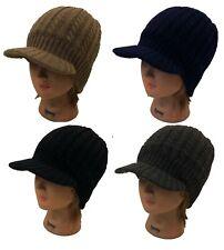 Men Women Winter Visor Beanie Crochet 2 Layer Fleece Warm Knit Beanie Hat Cap