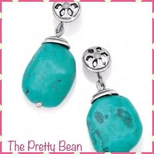 NEW Brighton Earrings Trade Winds Silver & Turquoise Stone Dangle Earrings RARE