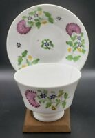 Antique Soft Paste Handleless Cup & Saucer Hand Painted Flowers As Found