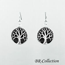 Sterling Silver Tree of Life Earrings with Onyx Inlay - Celtic Jewelry