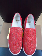 NEW WITH BOX - ASH RED LACE  SLIP ON SHOES - SIZE 39