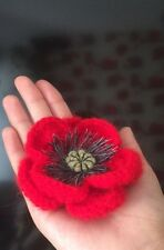 Knitted crocheted Red poppy brooch handmade angora Remembrance Day