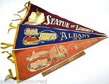 Antique PENNANT Lot; 3 SOUVENIR PENNANTS Albany WASHINGTON DC Statue of Liberty!