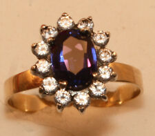 100% Genuine Vintage 9ct Gold Ring with A HUGE 1.52ct Natural Sapphire & Quartz
