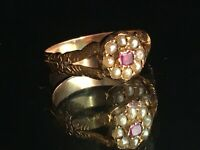 Antique Georgian Gold Pearl & Ruby Ring Size P