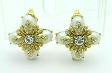Clear Rhinestone Faux Pearl High Quality Maltese Cross Vintage Clip Earrings