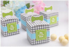 50x Blue My little Man Bow Baby Shower Candy Box Birthday Party Chocolate Box