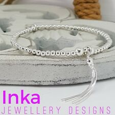 Inka 925 Sterling Silver beaded Stacking  Bracelet with Dainty Tassel charm