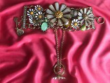 Betsey Johnson Flower Child HUGE Daisy Green Bug Beetle Bracelet Hand Chain Ring
