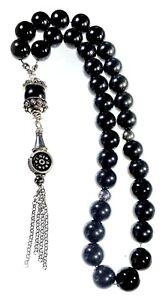 Tasbih Worry Beads Komboloi black agate stainless steel chain tassel  JCE27 111