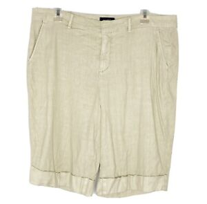 NYDJ NOT YOUR DAUGHTER JEANS Bermuda Cuffed Shorts beige Linen blend NWT Size 14