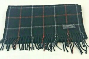 Burberrys of London Cashmere Scarf England Navy Plaid Windowpane Red