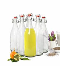 2-6 Glasflaschen mit Bügelverschluss 1L Trinkflasche Drahtbügelflasche 1000ml