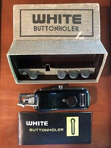 White Greist Buttonholer ZigZag w/ Original Box and Parts