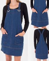 New Women Denim Pinafore Navy Dungaree Bib Skater A Line Mini Dress UK 6-18