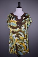 CATO NEW $39 Brown Yellow Blue Watercolor Flutter Sleeve Tunic Blouse Large