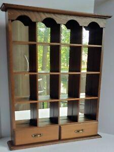 Vintage 18 × 14 Wooden Knick Knack Display Shelf For Wall Mirrored Display Shelf