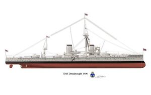 Battleship Profile Art Print A4 A5 Queen, Mary,Caroline,Invincible,Indifatigable