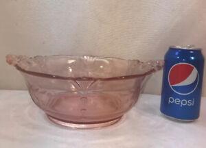 Vtg Depression Ware Pink Glass Etched Bows Handled ELEGANT Serving Dish Bowl