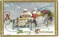 Antique Postcard Merry Christmas Automobile Holly Snow Winter Scarf Goggles