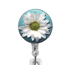 White Daisy Flower ID Badge Holder - Retractable Badge Reel - Badge Clip