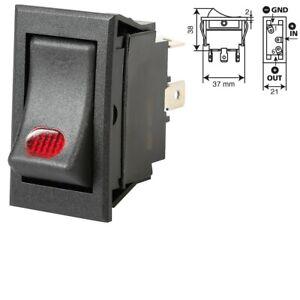 INTERRUTTORE Pulsante con Spia Rossa indicatore led  12V 20A  3 contatti switch