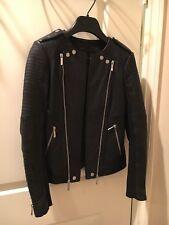 $698 BCBG Max Azria Black Leather Long Sleeve Moto Jacket Size XXS