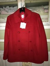 NWT$179 J.Jill Classic Winter  Coat Jacket Perfect Red Wool/Poly/Rayon XS nice
