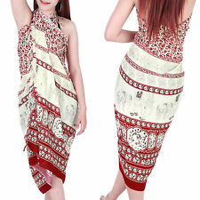 Elephant Pattern Sarong Skirt Dress Wrap Cover up Beach Swimwear sa128rd bid