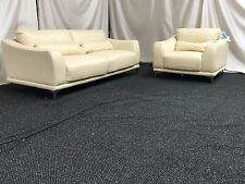 FURNITURE VILLAGE SOFA 3+1 SEATER CREAM LEATHER SUITE RRP £2999.99