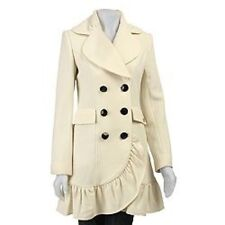 Betsey Johnson Women's Ruffle Cashmere Blend Walker Coat Size 4 Cream Rare
