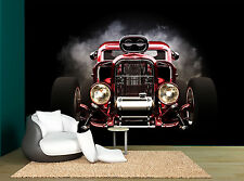 Retro Old Red Car Black Backgound Wall Mural Photo Wallpaper GIANT WALL DECOR