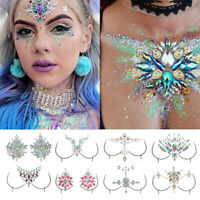 Face Gems Adhesive Glitter Jewels Chest Tattoo Wedding Rave Party Body Make Up