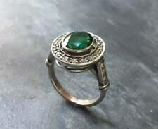 Antique Vintage Art Deco Engagement Ring 2 Ct Green Diamond 14k White Gold Over