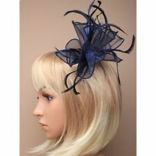NEW Navy blue looped fabric and feather comb fascinator wedding prom races ascot