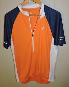 Men's Bontrager 1/2 Zip Cycling Jersey Orange White Blue Size Medium