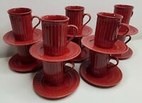 10 Coffee Cups with 10 Saucer / Dessert Plate Red Stoneware Ripple Design 20 Pcs