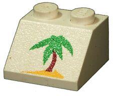 Brique lego manquant 3039px40 blanc pente brique 45 2 x 2 avec motif palmiers