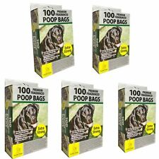 1000 x Dog Poo Premium Lemon Scented Poop Bags Extra Strong Tie Handles Doggy