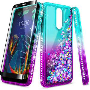 For LG Stylo 5/5V/5x/5 Plus Phone Case Liquid Glitter Cover with Glass Protector