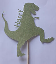 Personalised Birthday Dinosaur topper GREEN Glitter card cake decoration